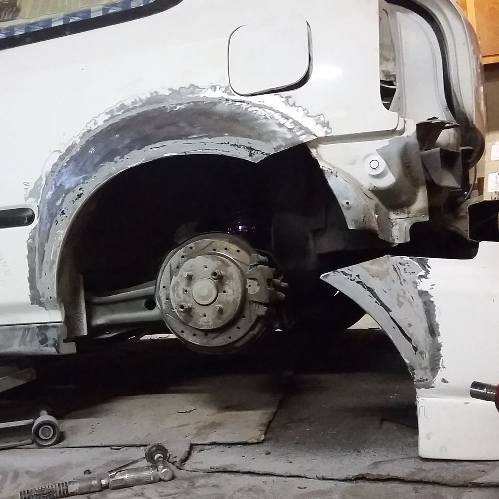 -to accommodate the 45mm larger quarter panels,the rear bumper will need to be widened to fit the newly placed mounts.