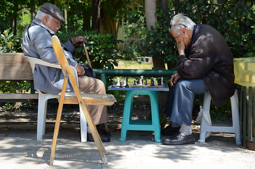 Chess game in National Garden of Athens