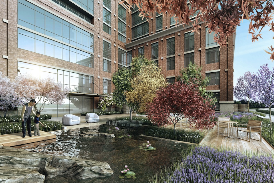 Zen garden at Harmony Village Sheppard, image courtesy of City Core Developments