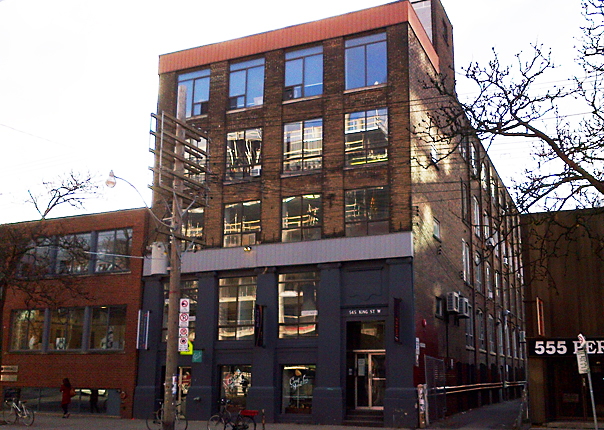 Existing building at 545 King St W, photo courtesy of Hullmark