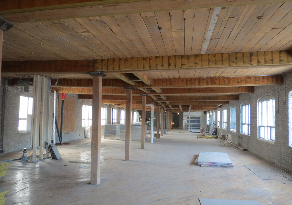 Gutting of typical floor at 545 King St W, photo courtesy of Quadrangle Architects