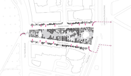 Landscaped site plan of June Callwood Park. Image courtesy of gh3.