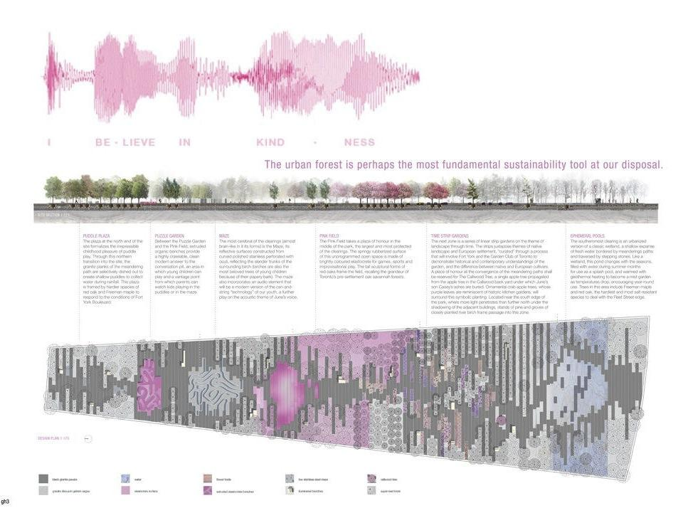 The starting point of the design takes a voice sampling of Callwood's own words physically mapped onto the site. Image courtesy of gh3.
