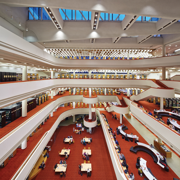 A view of the extensive renovations made to the Toronto Reference Library by Moriyama & Teshima Architects.