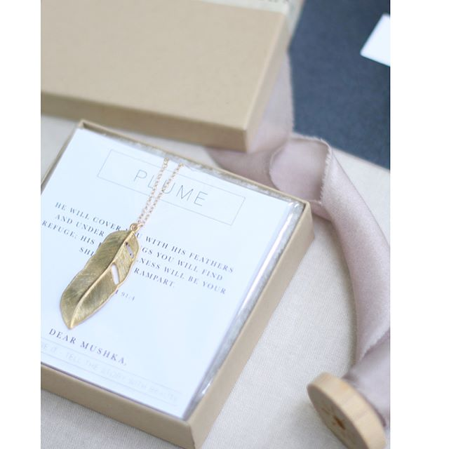 Each year at Rest + Retreat, our ladies receive a gift on the last day; something to wear that will tangibly remind them of all God spoke over them in our time together. This year's gift was The Plume necklace by @dearmushka. The most exciting news though is that this necklace is NOW ON SALE for this week only from the @dearmushka store. Swipe for the scripture and the sales code then go buy yourself one. You'll love it! #dearmushka #scriptureyouwear #psalm91 #restandretreat2018 (photos by: @dearmushka)