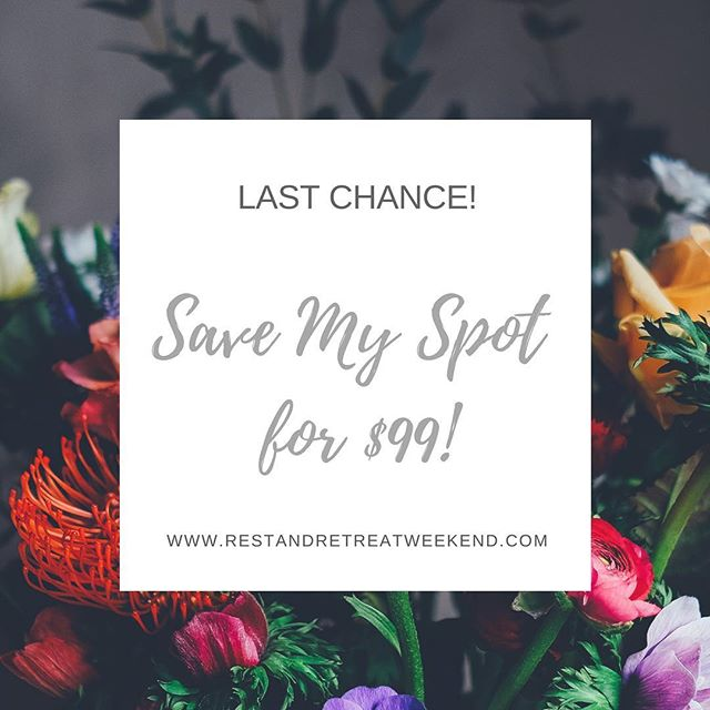 "Hey friends!! Our ""Save my spot for $99"" special ends today! This promo lets you reserve your spot for a 2019 Rest + Retreat weekend for only $99 down. Then you have until December to pay the remaining balance (of the early bird rate). 🌸 We have 5 spots left for our St. Louis weekend (April 2019) and 6 spots remaining for our Colorado Springs weekend (June 2019). 🌸 hurry! Link up top to register! #restandretreat2019"