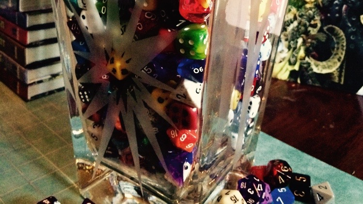 A full vase of dice.