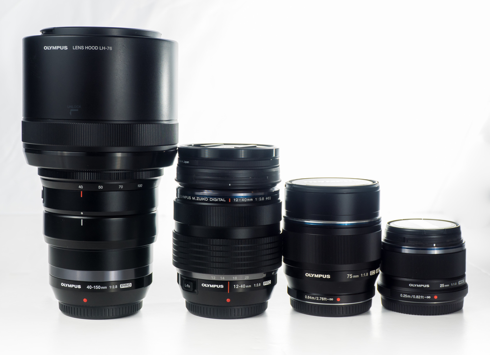 Olympus 40-150mm 2.8, 12-40mm 2.8, 75mm 1.8, and 25mm 1.8