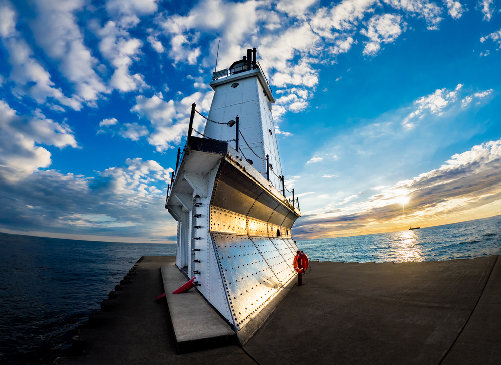 Ludington North Breakwater Light,  Taken with Olympus E-M1 and M. Zuiko 8mm 1.8 pro