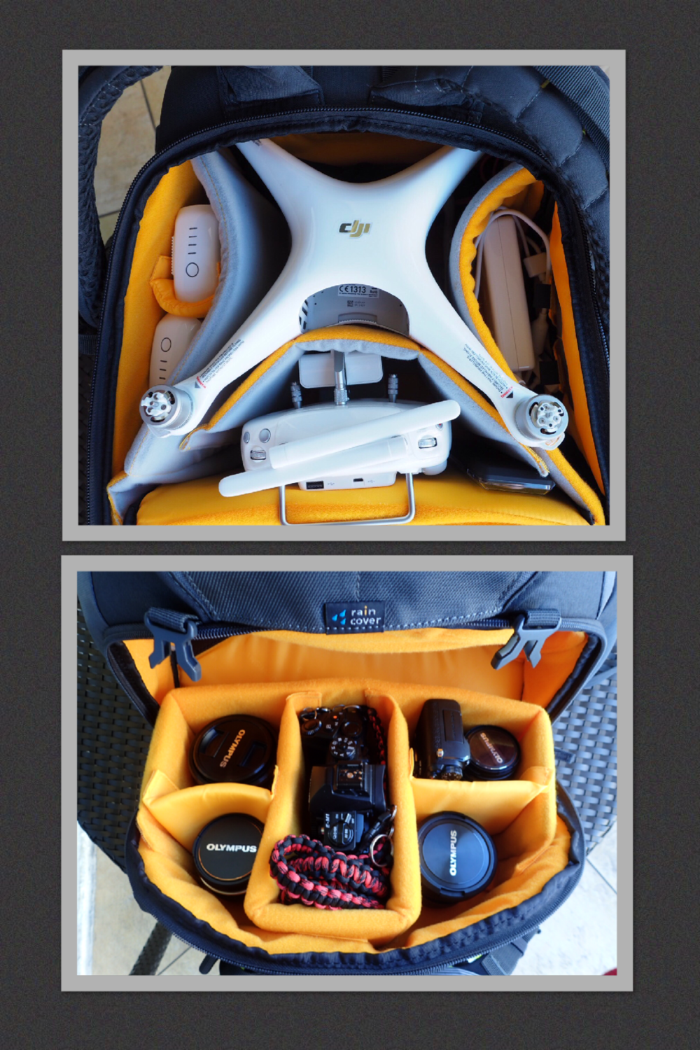 Top: Phantom 4, 2 batteries, charging cords, Polar Pro Filter kit, Remote, Propellers  Bottom: M. Zuiko 12-40mm 2.8, M. Zuiko 75mm 1.8, Olympus E-M1, Olympus PEN-F, M. Zuiko 60mm 2.8, M. Zuiko 8mm 1.8 Fisheye