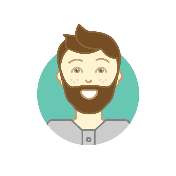 Hipster customer support character illustration.