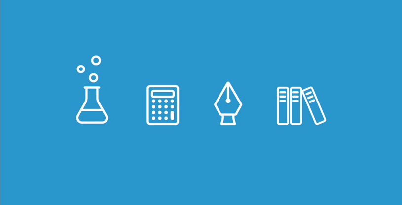 Science themed icons for an educational infographic