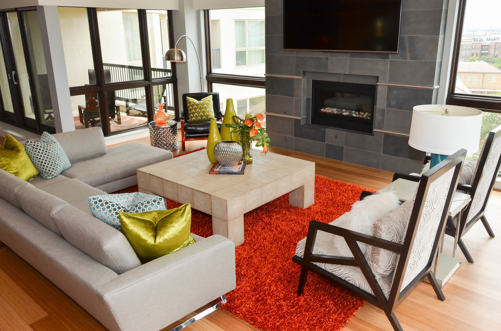 Orange shag rug with mid-century modern living room