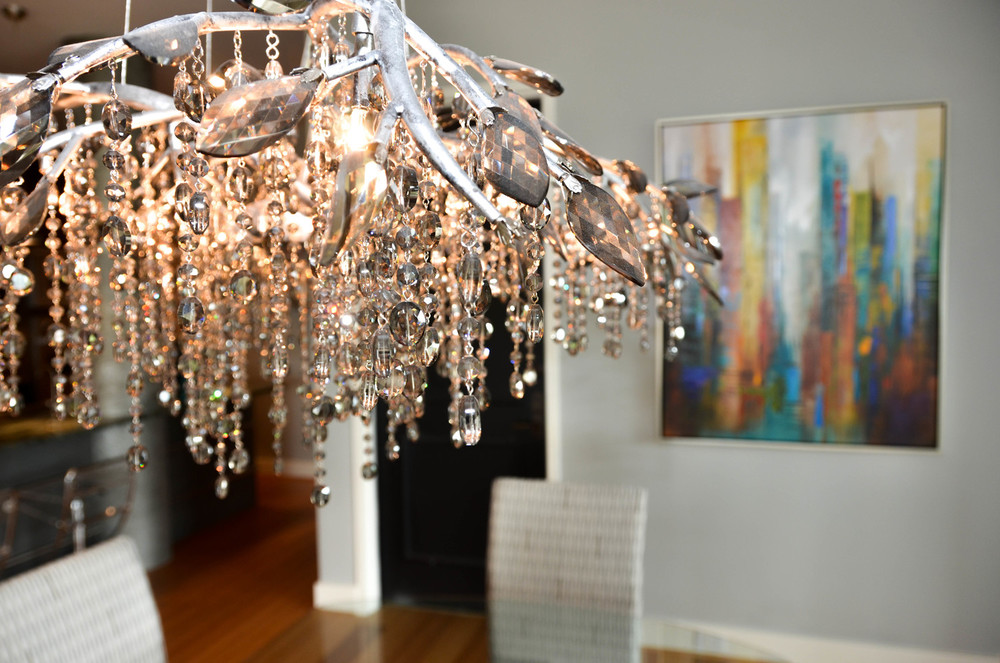 Crystal faux bios chandelier