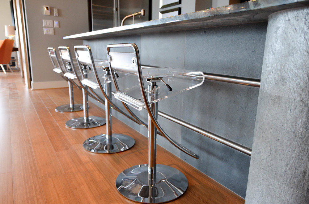 Modern lucite and chrome barstools