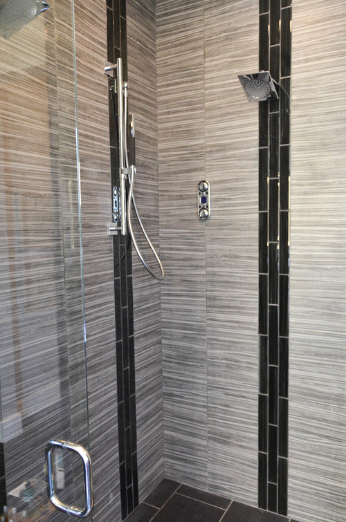 Modern grey tiled master bathroom shower