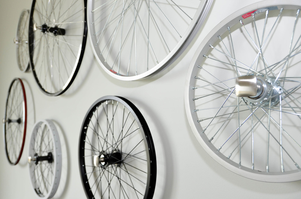 DIY bicycle wheel wall sculpture art