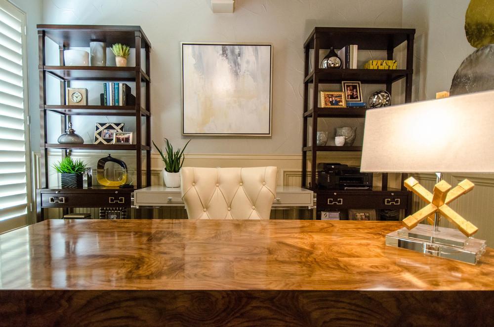 Symmetrical modern home office interior design