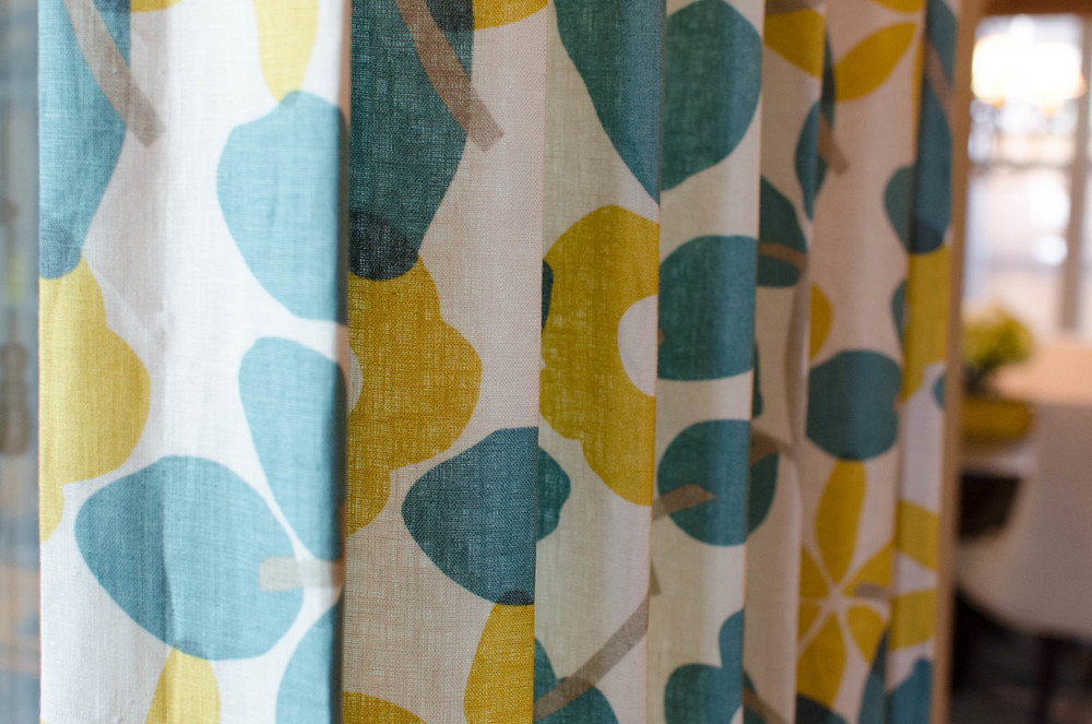 Whimsical linen teal and yellow drapes