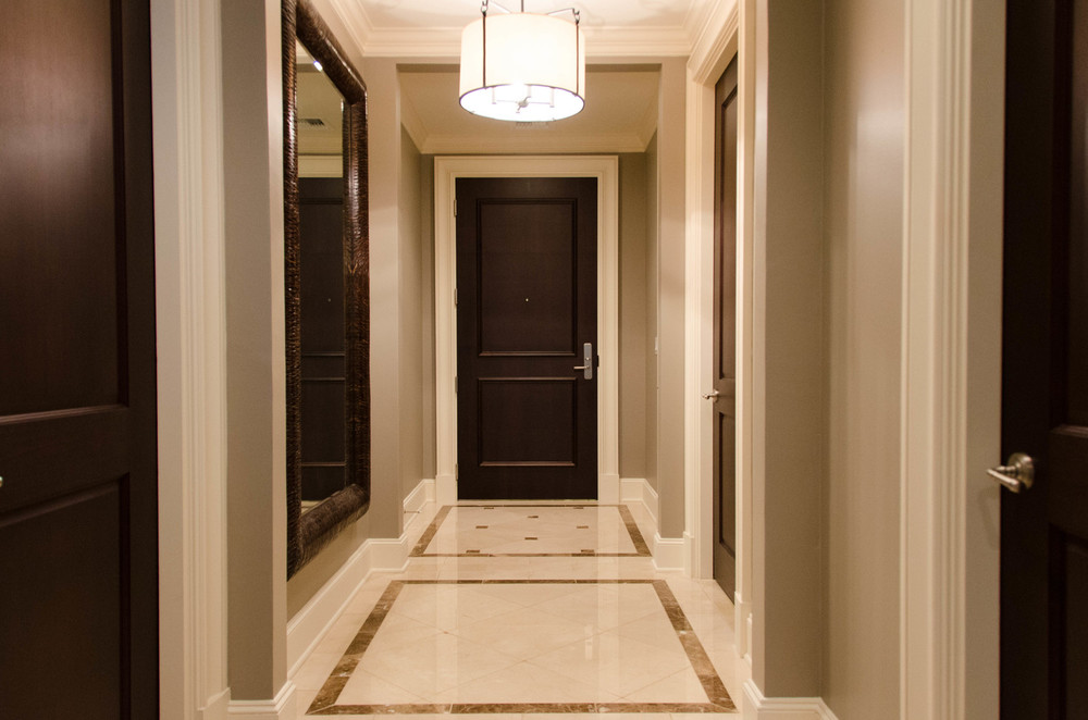 Marble inlayed entry hallway