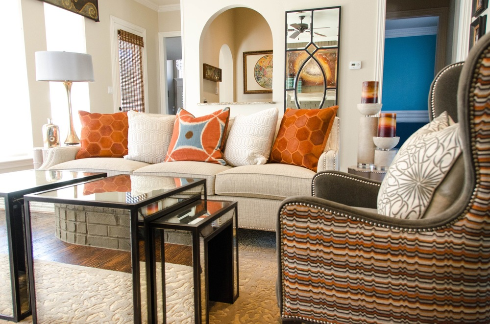 Modern interior with orange and blue color scheme