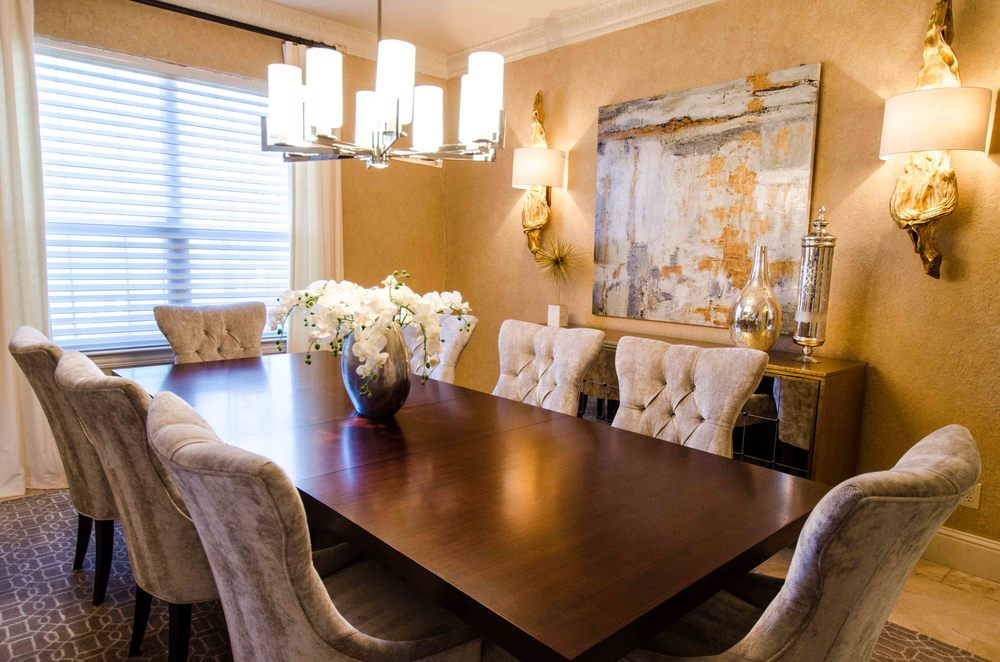 Mixing gold and silver accents in interior design formal dining room