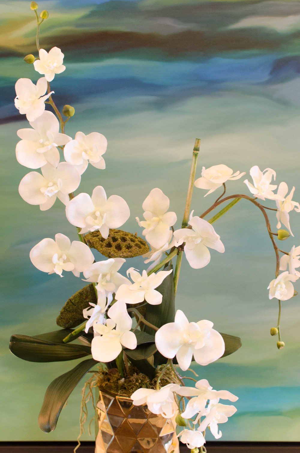 Modern white orchid fake floral