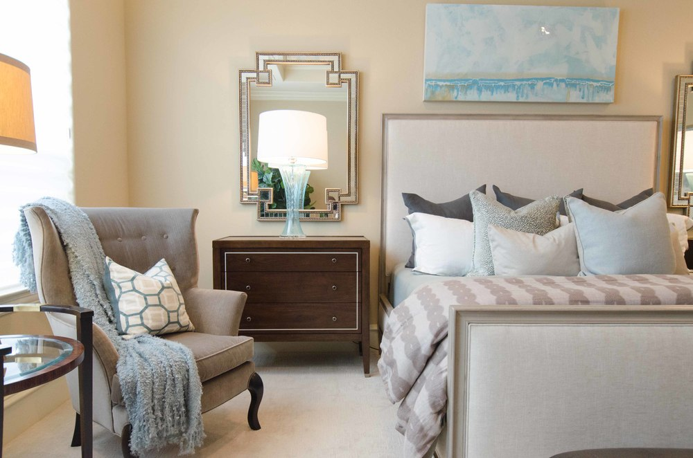 Master bedroom retreat using light blue and soft grays