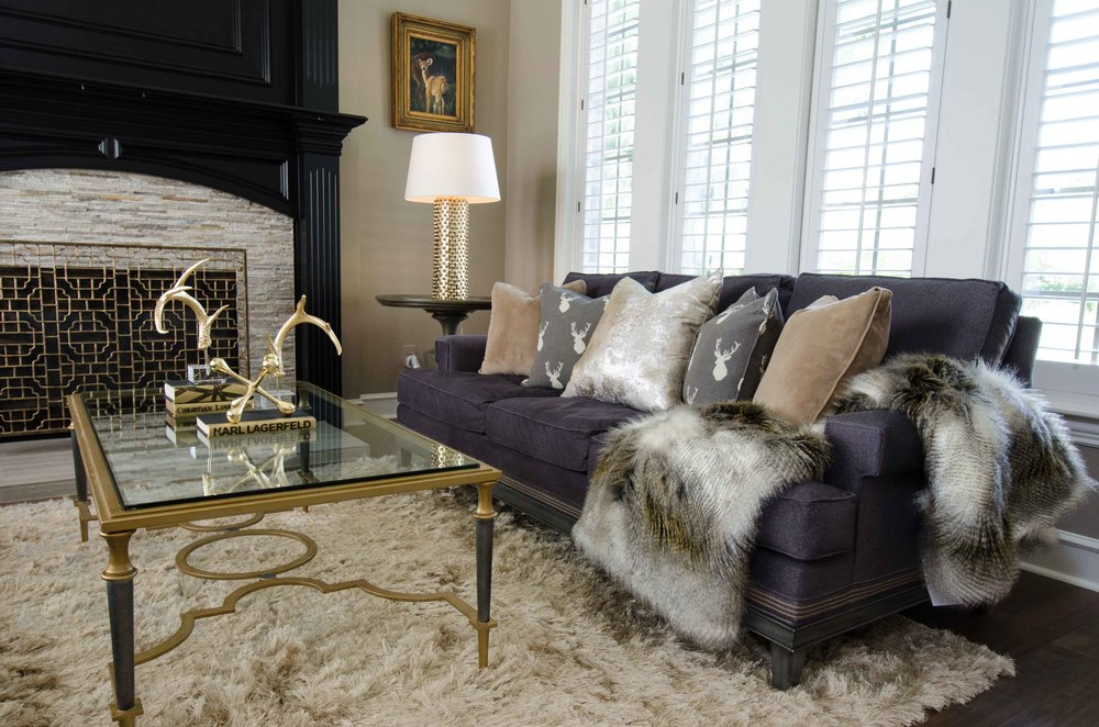 Modern gold and black coffee table