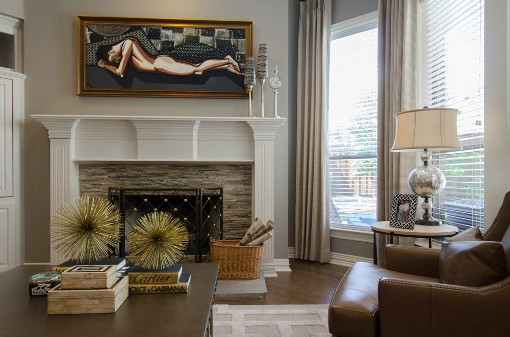 Male nude painting in traditional home interior
