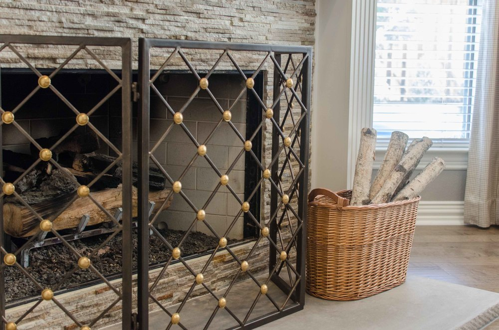 Bronze and gold fireplace screen