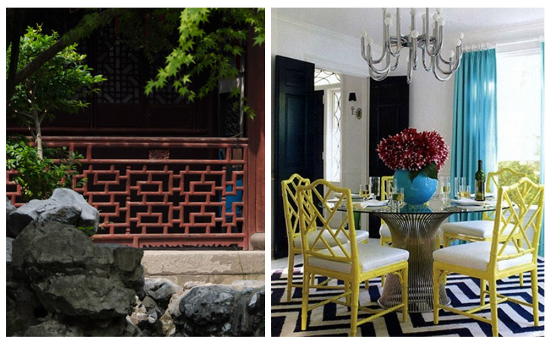 When you think of China, bamboo lattice comes to mind. Here is an example of modern bamboo inspired dining chairs.