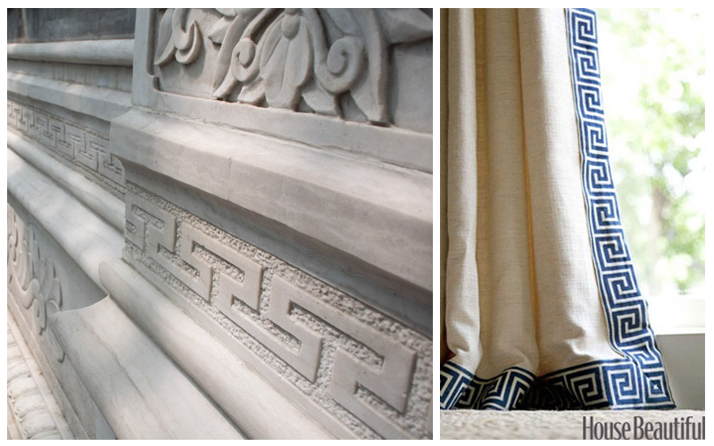 "This motif is known as the ""Greek Key"". You can see how global the world was millennia ago. I love this design element used as the leading edge to these drapes."