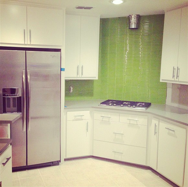 Day 19. Lime green backsplash! So fun!