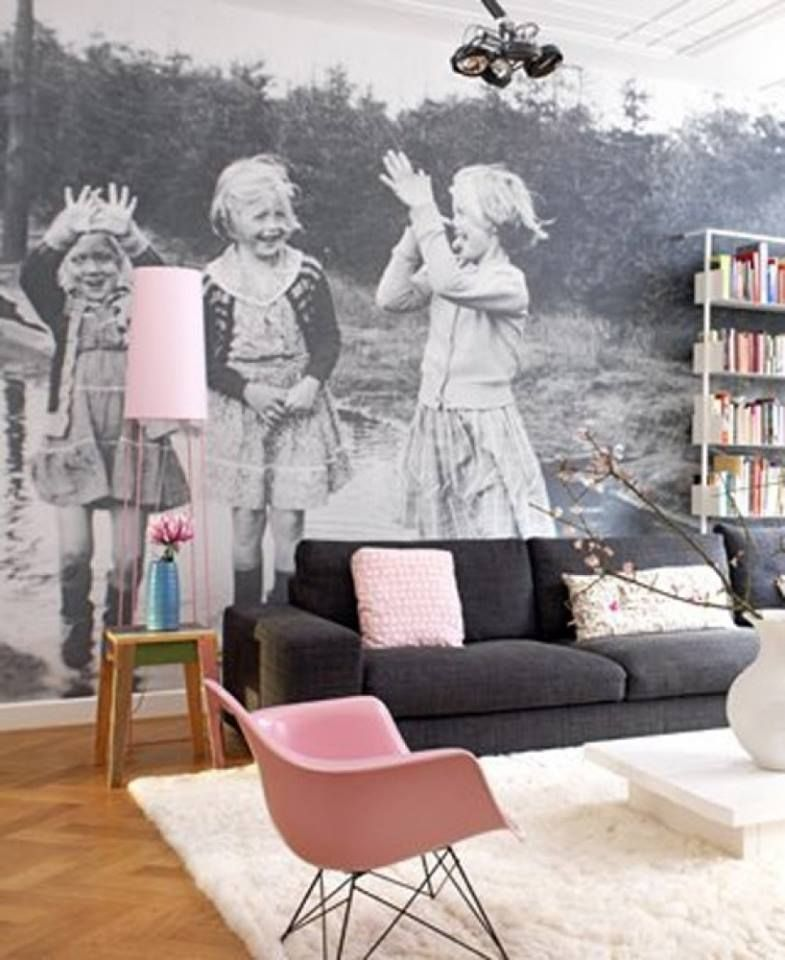Vintage family photo blown up and used as a wall mural