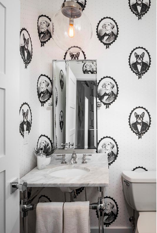 This wallpaper in the bathroom is awesome at showing your dog love!
