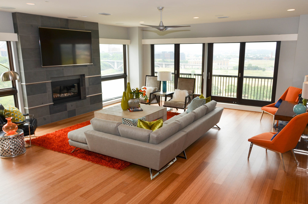 Mid-century modern interior design with floor to ceiling windows