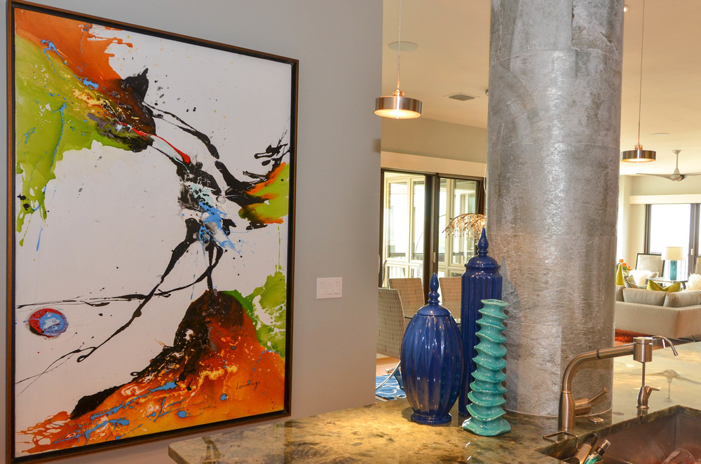 Abstract art in an open concept modern loft condo