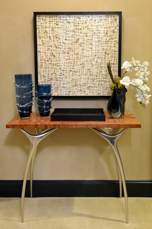 Mid-century modern burl wood entry console