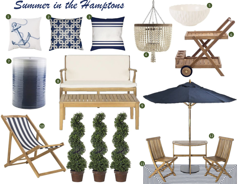 Teak wood furniture style for the Hamptons or Newport Beach. Classic blue outdoor furniture.