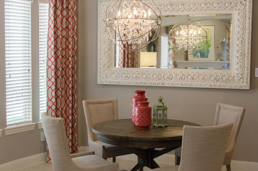 Client project where we infused a saturated pink into the trellis patterned drapes and home accents