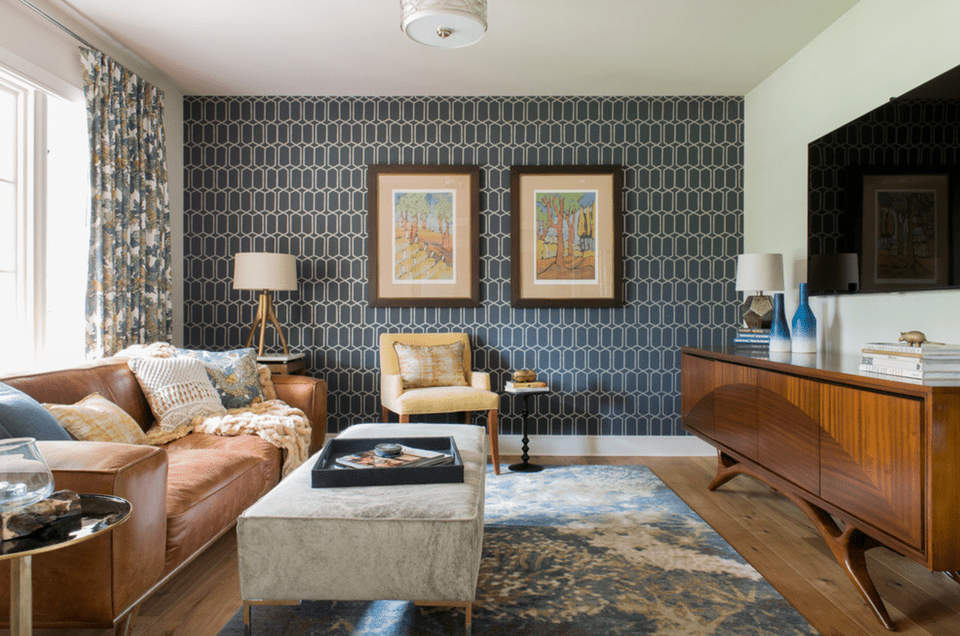 Sometimes just one wall is all you need for wallpaper. This creates the perfect layer for this living room.