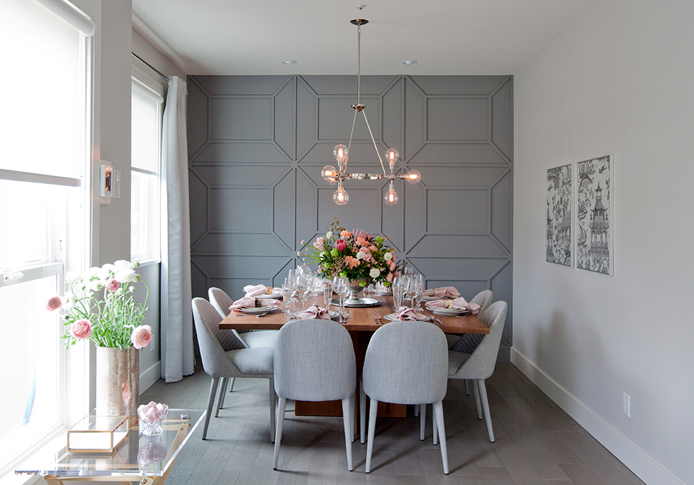 Taking a traditional molding and turning it into something special with this geometric designed wall using molding.