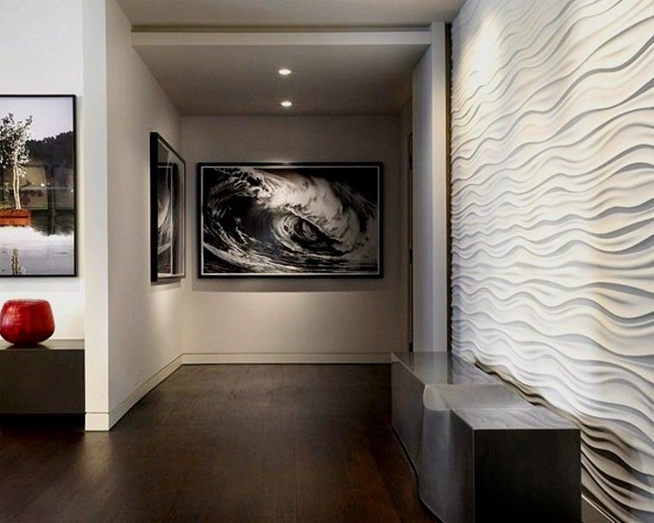 Wavy wall tile used to create a contemporary feature wall in this home.