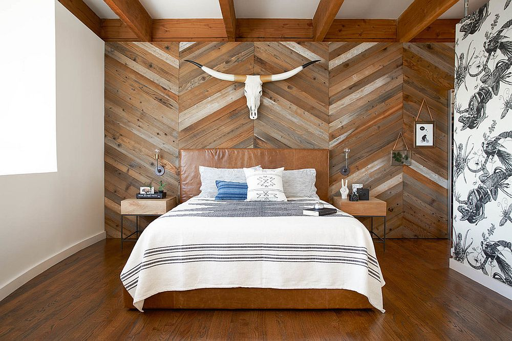 Taking traditionally rustic reclaimed wood and flipping it on it's scrip by using in a more tailored pattern.
