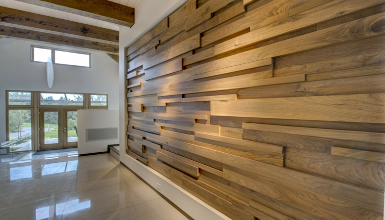 Dimensional wood accent wall. This is my dream.