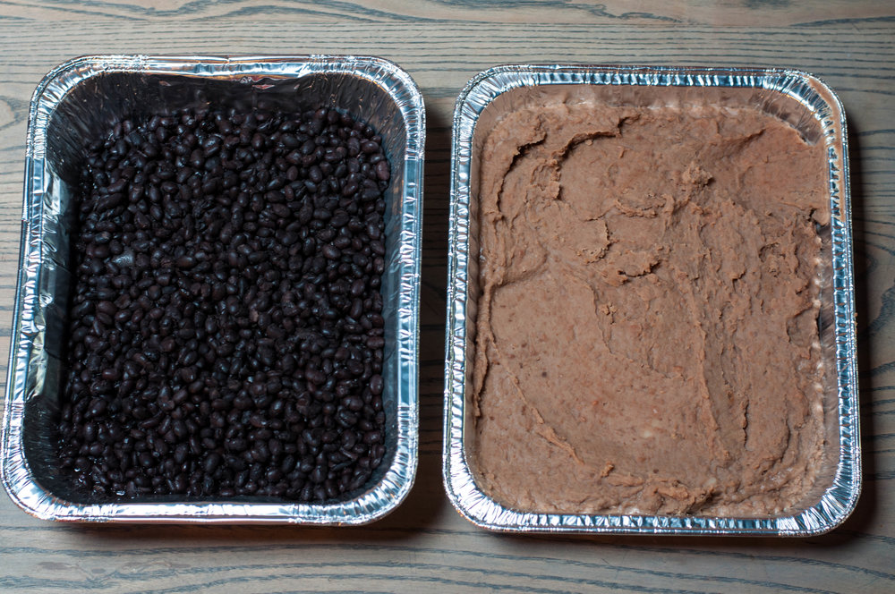 black beans (left) & refried beans (right)