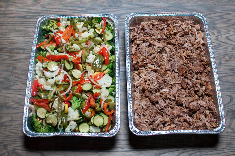 steamed vegetables (left) & carnitas (right)