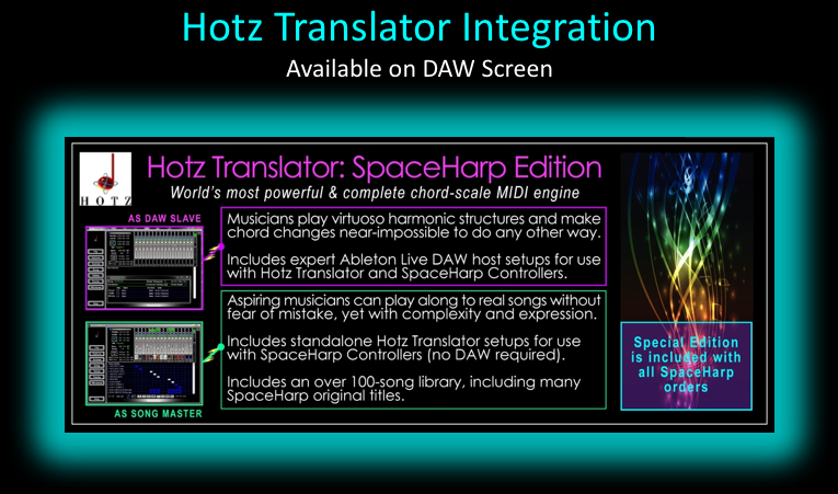 """Hotz Translator SpaceHarp Special Edition"" is included  with all 1- and 2-SpaceHarp orders. The SpaceHarp Special Edition is not sold separately (a $99 value)."