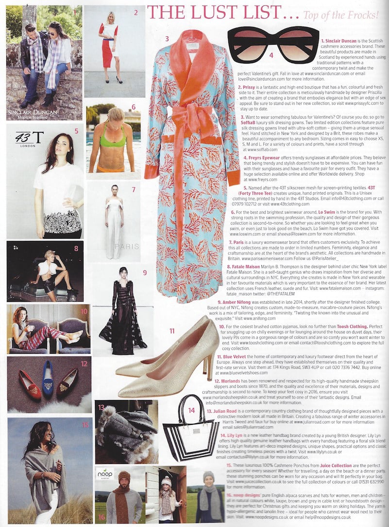 "AMBER NIFONG featured in TATLER's ""The Lust List"", see number 9."